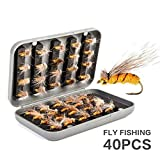 40Pcs Deluxe Dry Flies Salmon Trout Fishing Flies Lures Hook Sharpeners Fly Tying Kit Tackle/Box