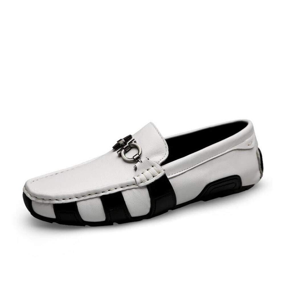 Herrenschuhe Feder- Herbstleder und Slip-Ons Lazy Schuhe Soft Sole Comfort Driving schuhe Walking Gym Schuhe Radschuhe,Weiß,41