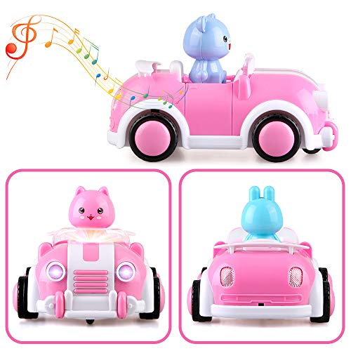 Pink Cartoon Remote Control Car,2CH Race Car Toys with Music,Lights and Animal for Kids Girls Age 18M+