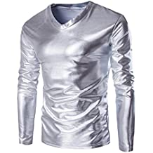 Sannysis Mens Metallic Shiny Wet Long Sleeve T-Shirt Top Slim Fit V Neck Costumes Blouse