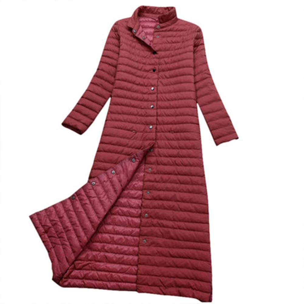 Red L Dotoo White Duck Down Winter Ladies Temperament Warm Striped Long Down Jacket Coat
