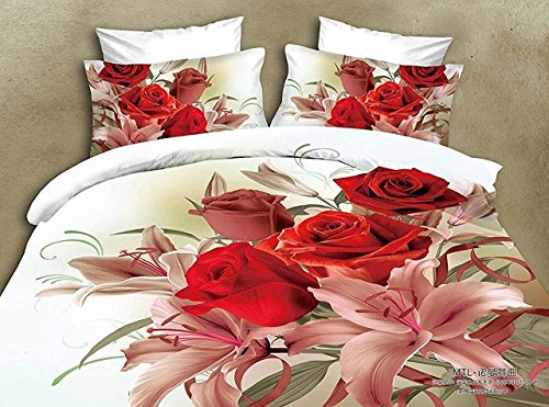 Belomoda 5D Rose Floral Print BedSheet With Pillow Cover With Zipper Pouch