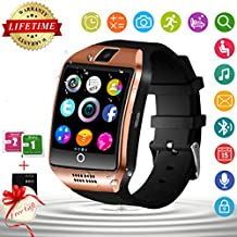 Bluetooth Smart Watch with Camera Waterproof Smartwatch Touch Screen Unlocked Cell Phone Watch Smart Wrist Watch Smart Watches for Android Phones Men Women Kids (Gold)