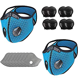2 Pack Face Bandanas Washable and Rreuseable with 8pcs Breathing valves 8pcs Activated Carbon Filter Replaceable Haze Dust for Adults (blue)