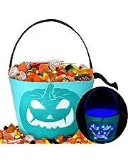 2 Pieces Pumpkin Halloween Bucket Light up Pumpkin Felt Bucket Trick or Treat Bucket LED Light Halloween Candy Buckets Multipurpose Reusable Goody Bucket for Kids Halloween Supplies Favors (Cyan)