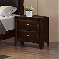 Roundhill Furniture Mateo 077 Cappuccino Finish Wood 2 Drawers Night Stands, Nightstand