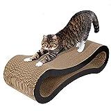 LIVINGbasics Cat Scratcher Lounge, Corrugated Ergonomic Cardboard Lounge Scratch Post Angled, Cardboard Protector for Furniture Couch Floor (Walnut Brown)