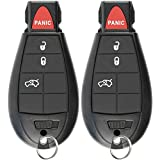 KeylessOption Keyless Entry Remote Control Car Key Fob for Dodge Chrysler Jeep (Pack of 2)