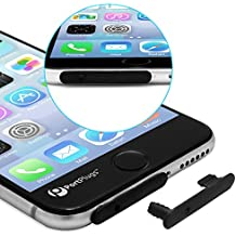 PortPlugs iPhone 6, 6s Dust Plug - [5-Pack] UniPlug 2 -in-1 Plug While Remaining Securely Attached - Protects iPhone from Dust, Dirt & Pocket Lint (Black)