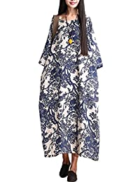 Mordenmiss Women's Printing Maxi Dress Travel Line Clothing