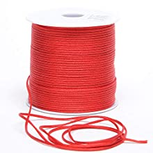 Premium Quality 2mm x 100 Yards Satin Nylon Trim Cord, Rattail, Chinese Knot, Kumihimo, (Red)
