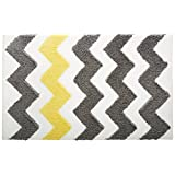 InterDesign Microfiber Chevron Bathroom Shower Accent Rug, 34x21-Inch, Gray and Yellow