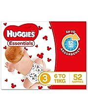 Huggies Essentials Nappies, Size 3 Crawler (6-11kg), 52 Count