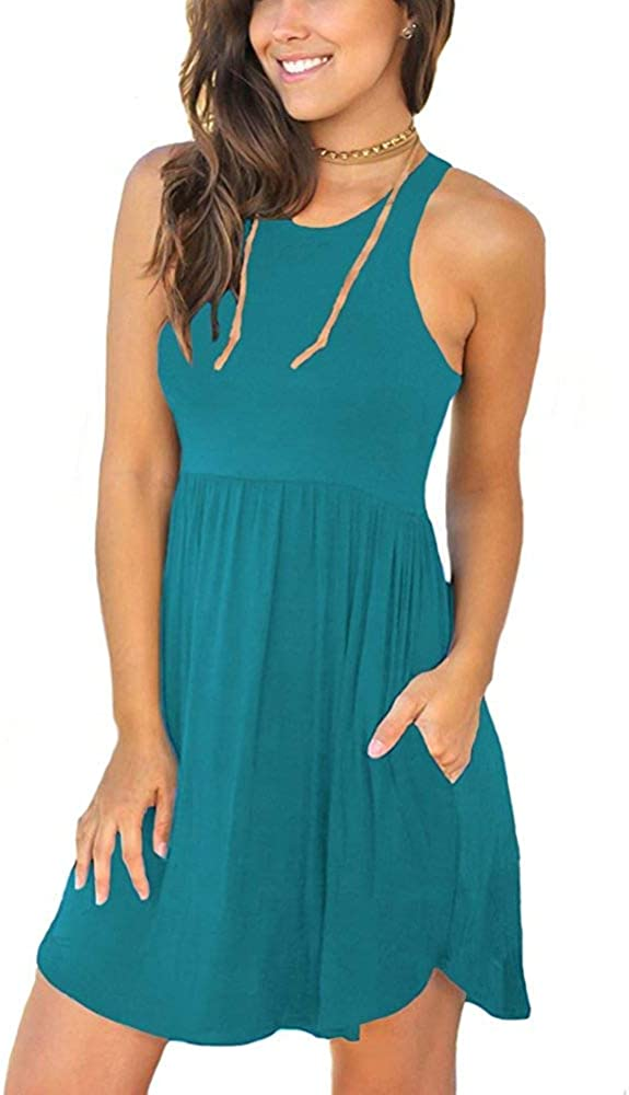 WNEEDU Women Sleeveless Loose Plain Dresses Casual Short Dress with Pockets