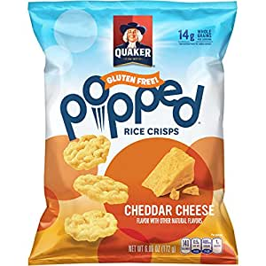 Quaker Popped Rice Crisp Snacks, Gluten Free, Cheddar Cheese, 6.06 Ounce Bag