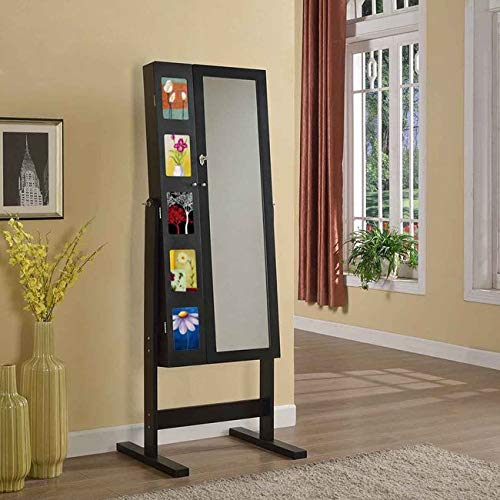 (Artiva USA Free-Standing Cheval Mirror and Jewelry Armoire Double Door Display Stand with Photo Frame and Key Lock, 62.5