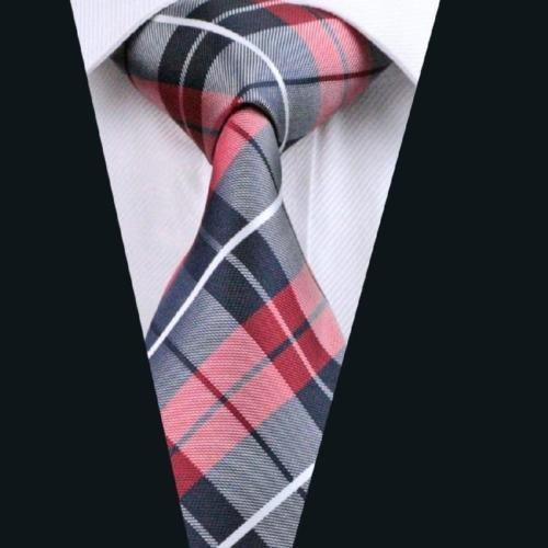 Ddang - Men's Red Plaids Checks 100% Jacquard Woven Silk Ties Wedding Necktie TPD 0001