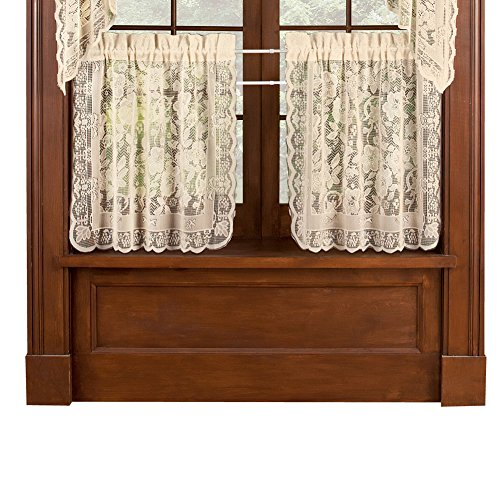Collections Etc Floral Lace Cafe Curtain Tiers Set of 2, Windsor - with Rod Pocket Top, Natural, 56