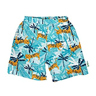 i play. by green sprouts baby-boys Trunks with Built-in Reusable Swim Diaper,Aqua Tiger,18mo