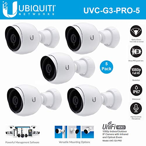 Ubiquiti Networks 5 Pack UniFi UVC-G3-PRO 1080p Indoor/Outdoor Network Bullet Camera, 3-9mm Lens