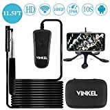 Inspection Camera, VINKEL Snake Camera Waterproof Wireless Endoscope 1080P HD 8 LED Semi-Rigid IP68 with Auxiliary Rod and Carry Case for Android IOS, 11.5FT