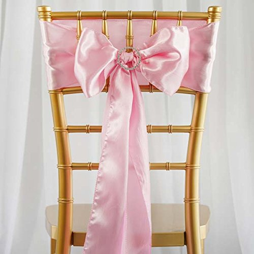 Efavormart 25pcs Pink SATIN Chair Sashes Tie Bows Catering Wedding Party Decorations 6 x106