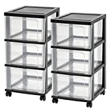 IRIS USA, Inc NC-3 3-Drawer Narrow Cart, Black
