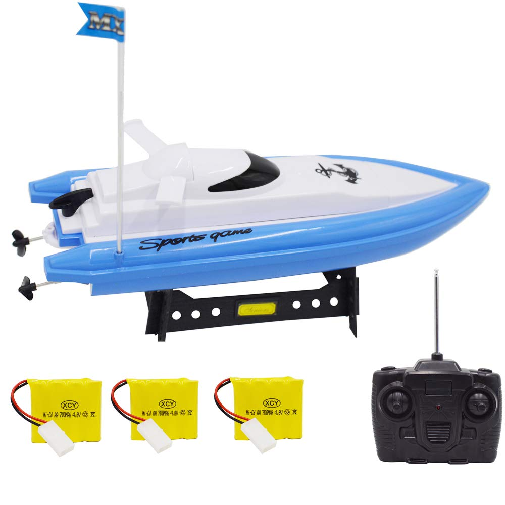 Blomiky F4 13 Inch High Speed RC Boat for Rive and Lake Extra 2 Battery MX20 Blue