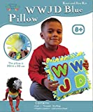 WWJD Blue Pillow, Knot Sew and Stuff Kit, All Inclusive, Fun for Everyone, Ages 5-12, Vibrant Colors, What Would Jesus Do Craft by Zoey's Art