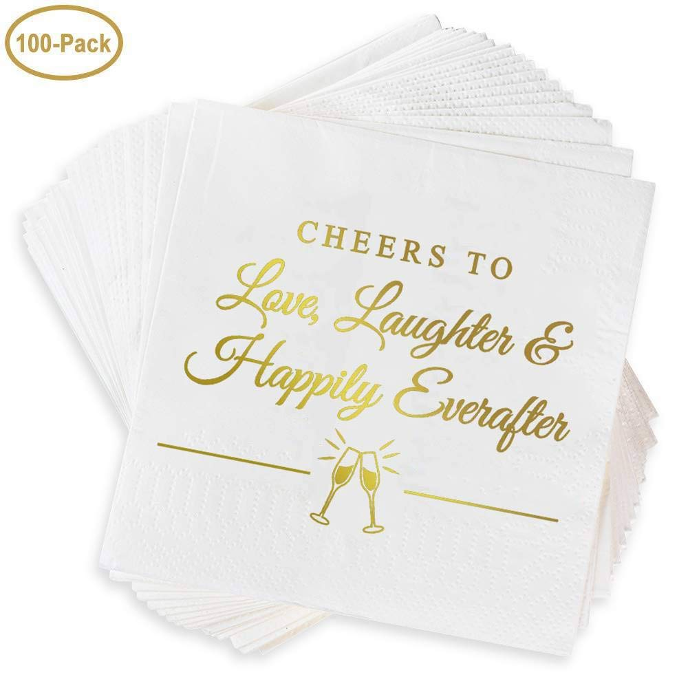 Napkins for Weddings, Rehearsal Dinners, More -''Cheers to Love, Laughter & Happily Ever After'' Gold Lettered White Cocktail Napkins, 4.9 sq. in. Fancy Beverage Napkins & Decór by Bollepo (100) by Bollepo