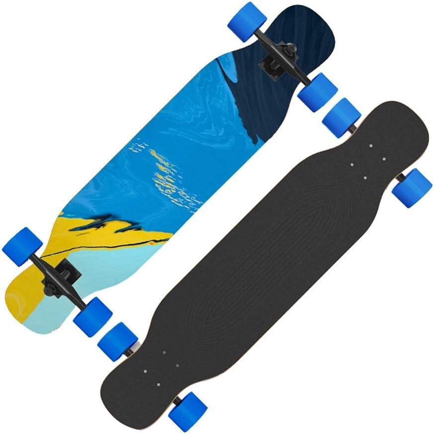 Sljj アウトドア初心者プロ 8層メープル スケートボード完了、 大人の少年少女十代の通り ダブルキック ロングボード (Color : B) B