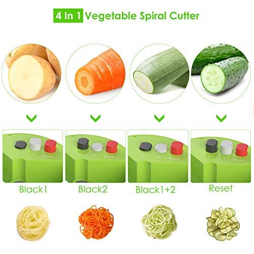 Spiralizer Handheld Vegetable Slicer Muzili Vegetable Spiral Slicer Cutter with 4 in 1 Functions