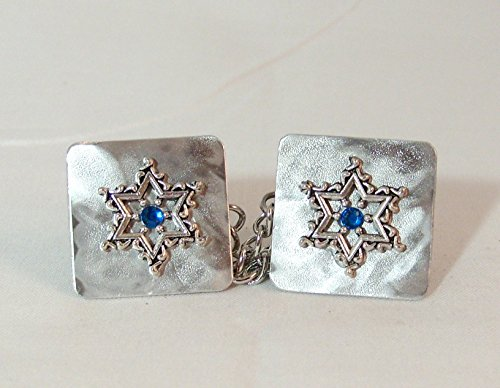 Lacy Star with Sapphire Blue Crystal Tallit Clips