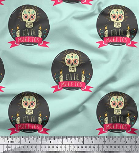Soimoi Green Georgette Viscose Fabric Text & Skull Halloween Printed Craft Fabric by The Yard 42 Inch Wide -