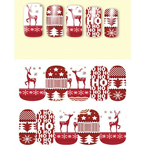 PIXNOR 10pcs Nail Art Stickers Fingernail Decals Christmas Tree