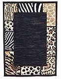Animal Skin Prints Patchwork Leopard Zebra Border Rugs 4 Less Collection Area Rug R4L 73 (5'2''x7'2'')
