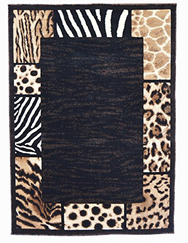 - Animal Skin Prints Patchwork Leopard Zebra Border Rugs 4 Less Collection Area Rug R4L 73 (5'2''x7'2'')