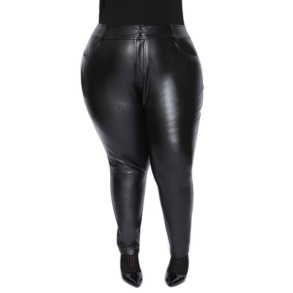 Astra Signature Women's Plus Size High Waist NaFaux Leather Leggingskano Tight Stretchy Rider Leggings Pants (22W, Black)