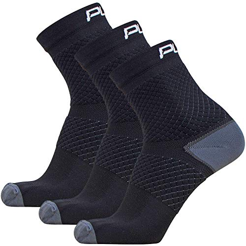 Ankle Support Socks – Compression Padded Ankle Sock, Lightweight Ankle Brace for Running, Jogging, Tennis, Basketball, Sports, Foot Sleeves (S, 3 Pairs – Black)