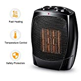 Portable Ceramic Heater - 1500W Portable Electric Heater with Adjustable Thermostat, Tip-Over & Overheat Protection, Adjustable Hot & Cool Fan Modes Small Space Heater for Under Desk Floor Office Home