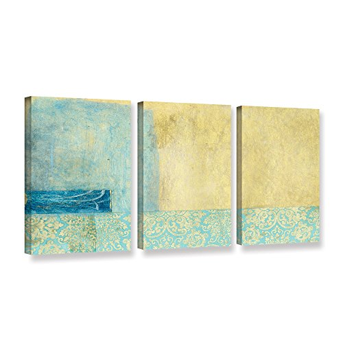 """Elana Ray's Gold and Blue Banner 3 Piece Gallery Wrapped Canvas Set, 36 x 72"""""""