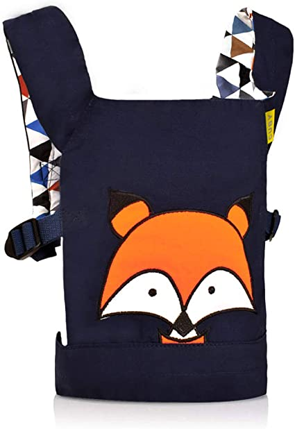 CUBY Dolls Carrier Front and Back Soft Cotton Suitable for Baby Over 18 Months Blue Fox Fox - Blue