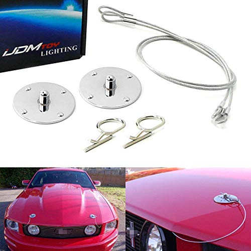 Hood Pin Appearance Kit - iJDMTOY Set of Classic Design 2.5-Inch Chrome Billet Aluminum Hood Pin Appearance Kit w/Cable For Any Car, Truck, SUV, etc