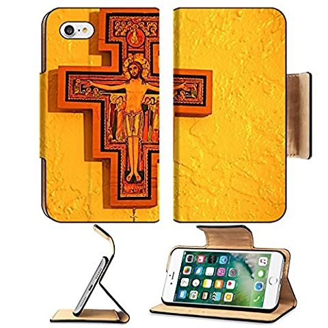 MSD Premium Apple iPhone 7 iPhone7 Flip Pu Leather Wallet Case IMAGE ID: 4121815 San Damiano Cross - Franciscans San Damiano