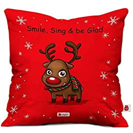 Indigifts Indibni Micro Satin Christmas Reindeer Print Red Cushion Cover with Filler (12×12 inches)