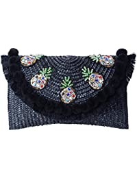 Straw Crossbody Crochet Shoulder Bag Pom Pom Tassel Pinapple Fringe Fashion Clutch Black