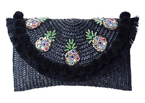Pulama Straw Crossbody Crochet Shoulder Bag Pom Pom Tassel Pinapple Fringe Fashion Clutch Black