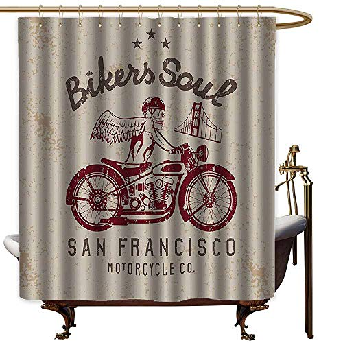Godves Long Shower Curtain,Retro Bikers Soul San Francisco Emblem with Skull Wings Riding Motorcycle Dead Illustration,Metal Build,W48x72L,Beige Ruby