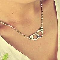 phitak shop New Design Men/Women Fashion Stuff Silver Tone Handcuffs Short Necklace Pendant