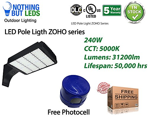 Outdoor LED Shoe Box Pole Street Parking Lot Light 240W, 31200lm, UL & DLC Certified, 5000K, (400W Equivalent) Water Proof, Arm Mount with Multiple Bracket Options. Free Photocell Included.
